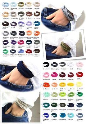 3-er Paket Wickelarmbänder aus Stoff Wunschfarben, Freundschaftsarmbänder unisex