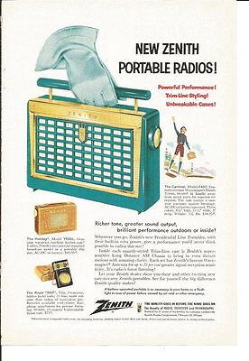 Vintage Zenith Portable Radios Ad 1950's
