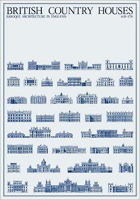 British British Country Houses Poster Kunstdruck Bild Plakat 84,1x59,4cm