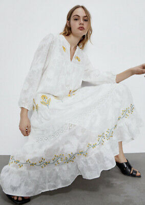 ZARA WOMAN NEW SS20 WHITE LONG EMBROIDERED DRESS SIZES S REF: 4786/062