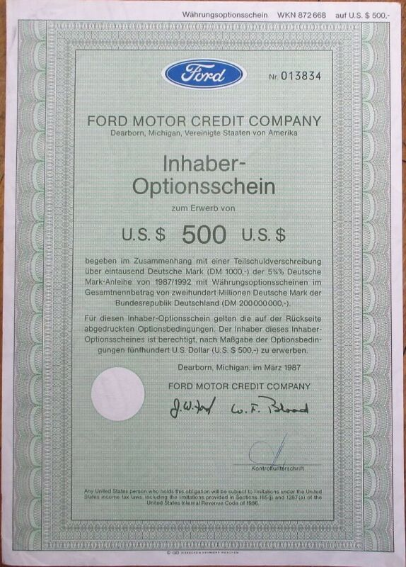 Ford Motor Credit Co. 1987 $500 Bond/Stock Certificate-German Issue-Dearborn, MI