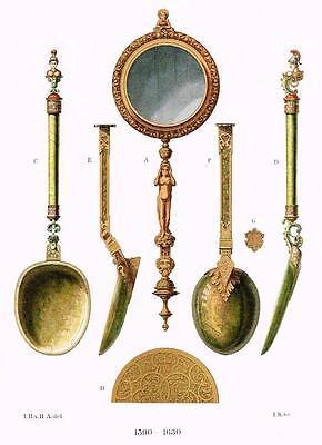 "Chromolithograph of UTENSILS - ""LADLES & MIRROR"" by Hefner-Alteneck in 1840"