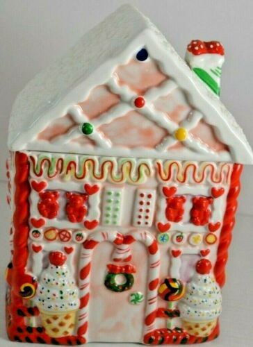 Ceramic Gingerbread House Cookie Jar Very Colorful Holiday Decor Collectible