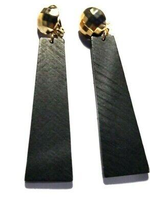 CLIP-ON EARRINGS WOOD CLIP EARRINGS BROWN AND BLACK 3 INCH LONG