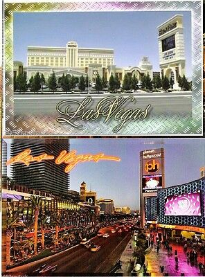 2 Las Vegas Strip Hotel Casino Skyline postcard s NEW Planet Hollywood etc lot (Planet Hollywood Vegas Strip)