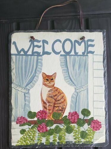 Evergreen Artists Palette Hand Cut Slate Roof Shingle Welcom Orange Cat Picture