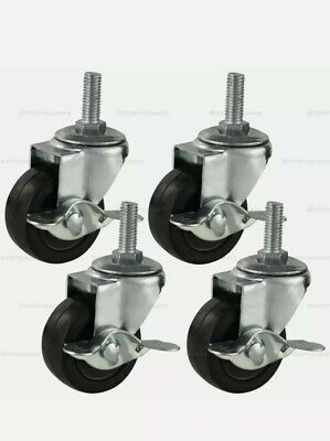 3 Inch Rubber Casters Heavy Duty Safety Brake Wheels For Wire Shelving Rack 4pc