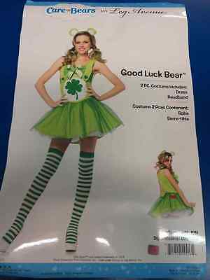 Good Luck Bear Care Bears Green Shamrock Fancy Dress Up Halloween Adult Costume (Halloween Costumes Care Bears)