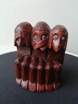 Carved Boxwood Three Wise Monkey Okimono
