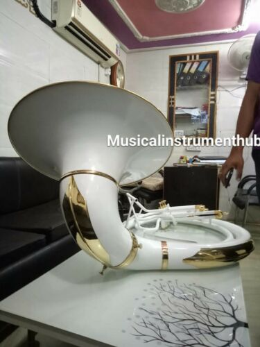 "SOUSAPHONE IN WHITE 25""BELL OF PURE BRASS METAL MADE  + CASE + FREE SHIPPING"