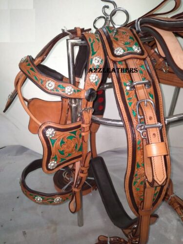Stylish 2 tone color Leather Driving harness for single horse cart-Natural/Green