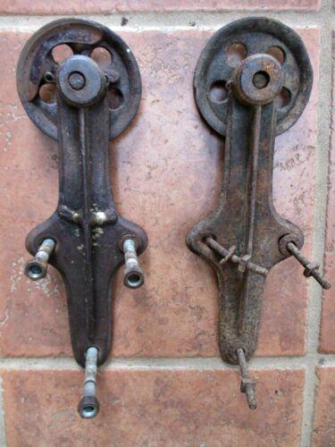 """Vintage Pair,SLIDING BARN DOOR HARDWARE, 2 Iron ROLLERS & HINGES, 4"""" Diam."""