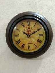 Wooden Wall Clock for Home Decoration Brown Color Antique Design Decorative