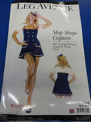 2 pc. Ship Shape Captain Navy Sailor Fancy Dress Halloween Sexy Adult Costume