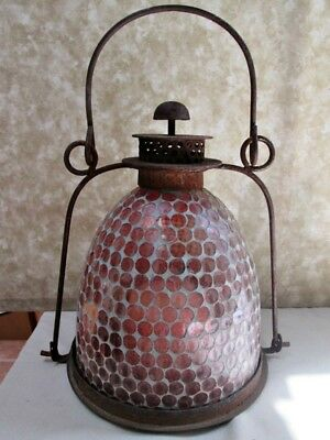 "Vintage CANDLE LANTERN, Metal & Glass,13"" Tall, Bail Handle, Most Unusual Form"