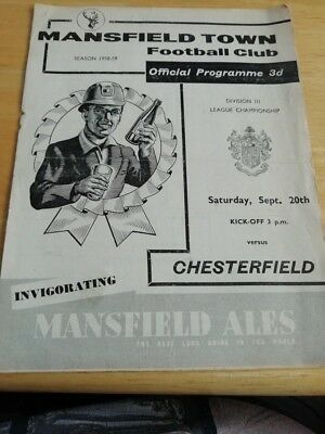 Mansfield Town v Chesterfield 20/9/58
