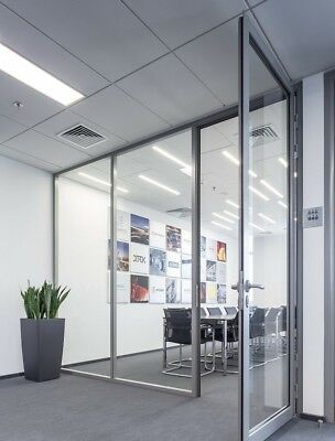 Cgp Office Partition System Glass Aluminum Wall 12x10 Wdoor Clear Anodized
