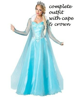 Supremes Fancy Dress Kostüme (Frozen Elsa Dress Costume adult party fancy dress cloak crown supreme quality)