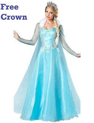 Eiskönigin Erwachsene Elsa Kostüm Blau 6-16 UK Tiara Mantel Pelzrand (Erwachsene Königin Elsa Kostüme)