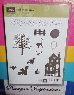 NEW Stampin Up HALLOWEEN SCARES Stamps Haunted House Spooky Tree Bats Fence