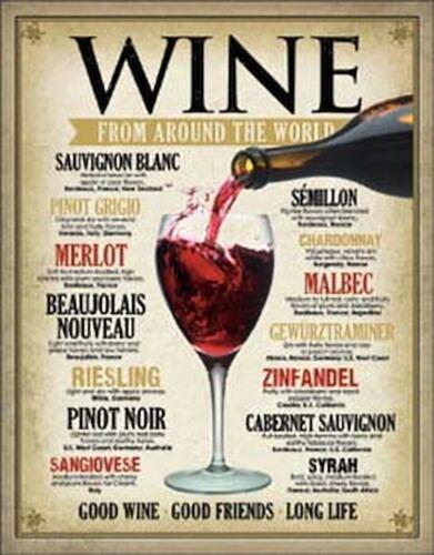 Wine Around the World Tin Metal Sign 13 x 16in
