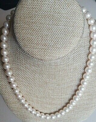Barb Bush Style Faux Pearl Necklace Single Strand 18