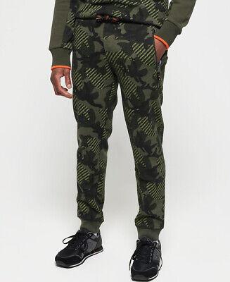 New Mens Superdry Logo All Around Khaki Camo Drawstring Joggers Pants M