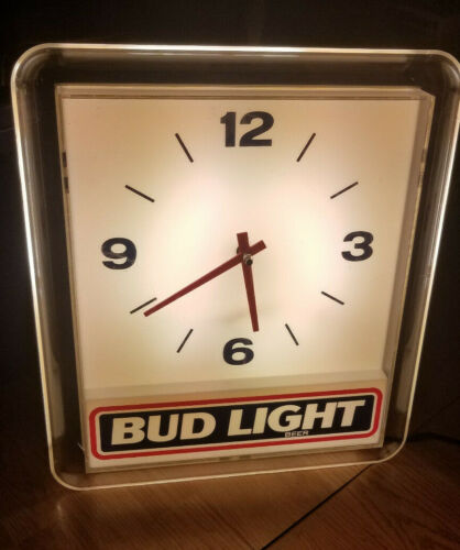 Vintage 1991 Bud Light Beer Lighted Bar Man Cave Clock by Prestige Needs Repair