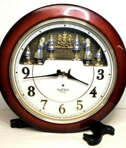 "Gorgeous Small World RHYTHM Motion Clock Wall Mahogany Wood 14"" Diameter"