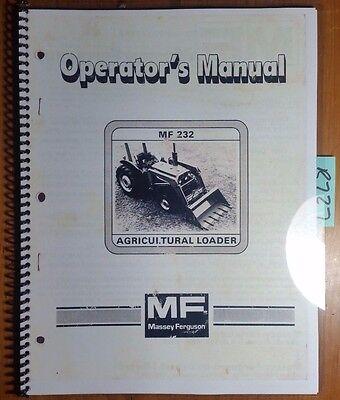 Massey Ferguson Mf 232 Ag Loader For 35 135 235 230 235 240 245 250 1040 Manual
