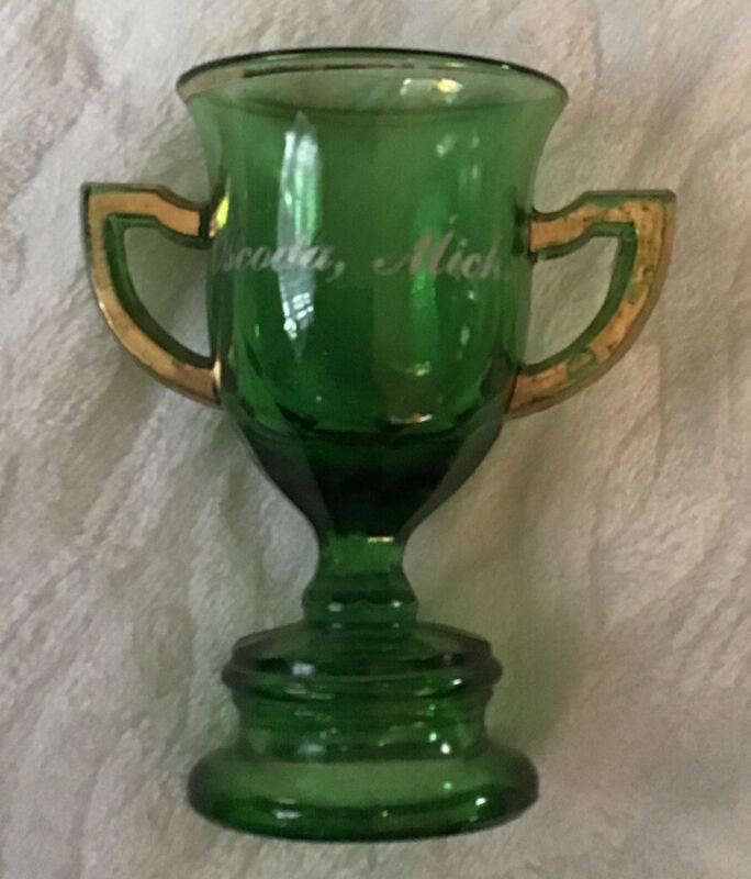 Antique OSCODA MICHIGAN Souvenir Green Glass Trophy