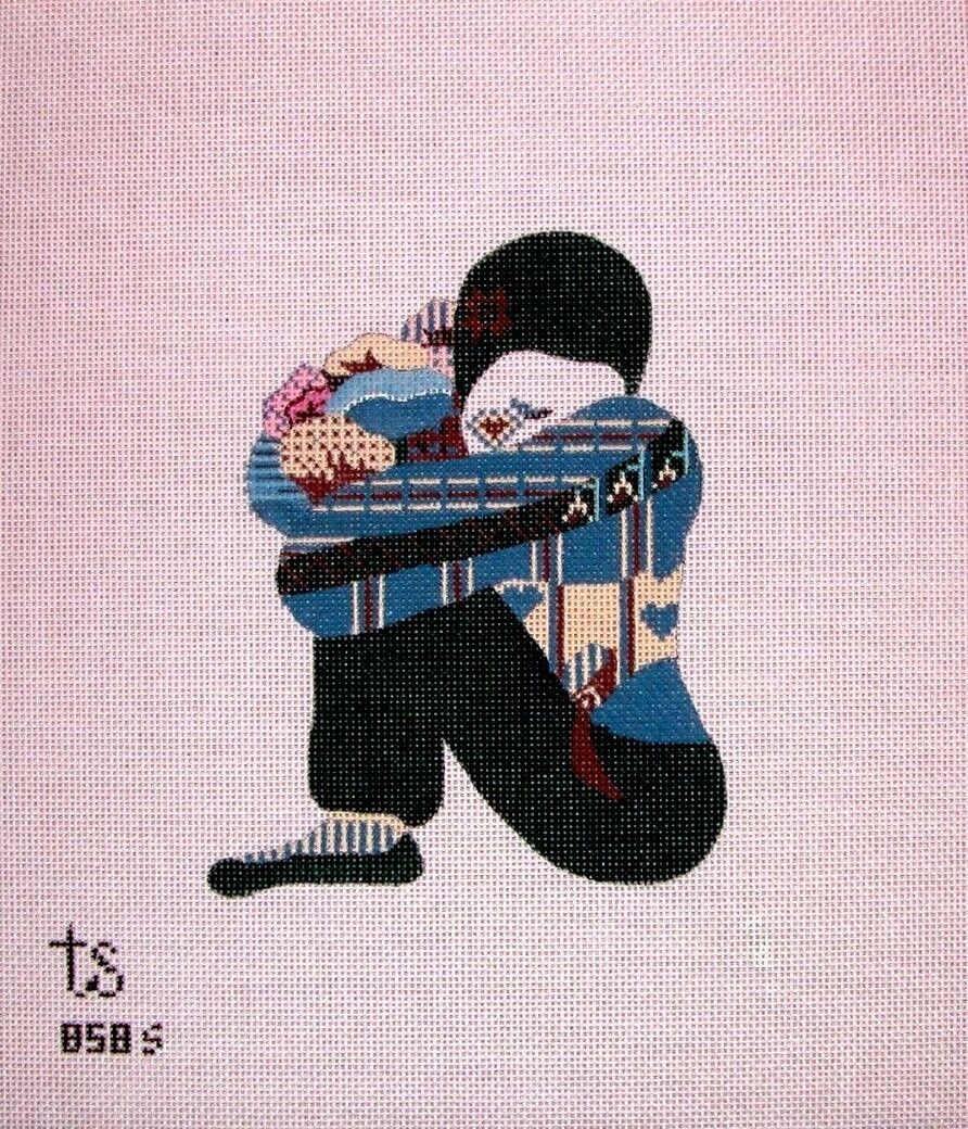 KW 858S Small Mime 18ct Mono HP Hand Painted Needlepoint Canvas - $16.99