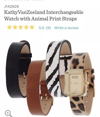 NEW:KathyVanZeeland Interchangeable Watch with Animal Print Straps