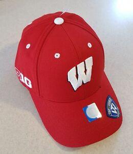 8be8dfe7d99 WISCONSIN BADGERS Adult Brim Cap Hat BIG TEN Adjustable TOP OF THE WORLD   235617