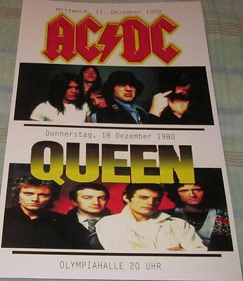 AC/DC & QUEEN GERMANY 1980 REPLICA CONCERT POSTER W/PROTECTIVE SLEEVE