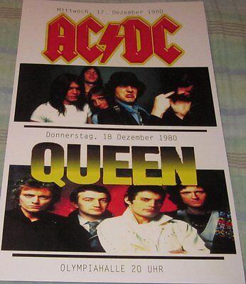 AC/DC & QUEEN GERMANY 1980 REPLICA CONCERT POSTER W/TOP LOADER
