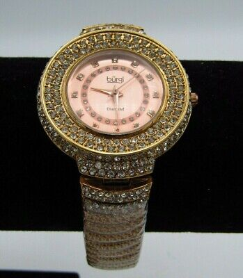 ROSE TONED BURGI DIAMOND CLUSTER WATCH #BUR048RG w/ STAINLESS STEEL BACK (p3)