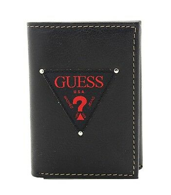 NEW GUESS DANIEL MEN'S BLACK RED LEATHER TRIFOLD CREDIT CARDS CASE ID WALLET