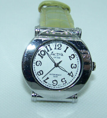 Watch Quartz Activa Swiss 495494 Green Leather Band Silvertone White Face #3