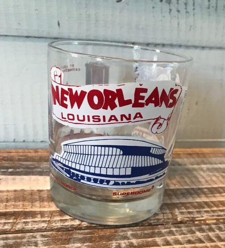 Vintage New Orleans Louisiana Rocks Glass Bourbon ST Superdome Cafe Du Monde