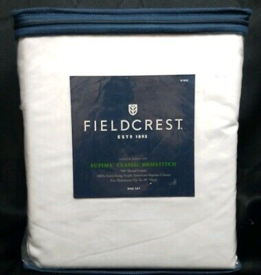 Fieldcrest Supima Classic Hemstitch Sheet Set White 700TC 4 pc KING Classic Hemstitch Sheet Set