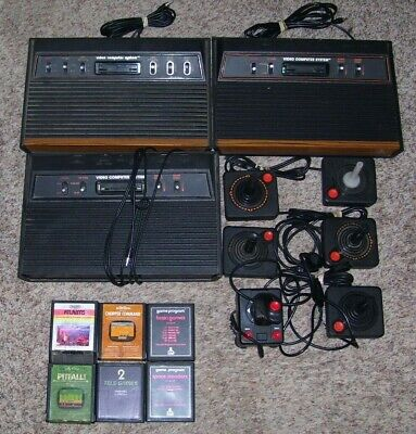 Lot Of 3 Working Atari 2600 Consoles With 6 Controllers And 6 Games