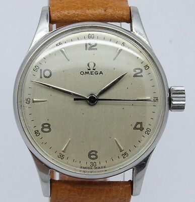VINTAGE 1940's Omega 30T2SCPC Mens 33mm Steel Manual Watch NICE Original Dial