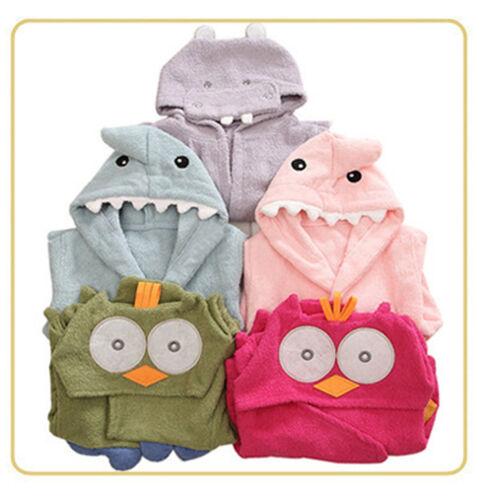 6ab1657768 Lovely Baby Boys Girls Cartoon Hooded Bathrobe Child Toddler Bathing Towel  Robe