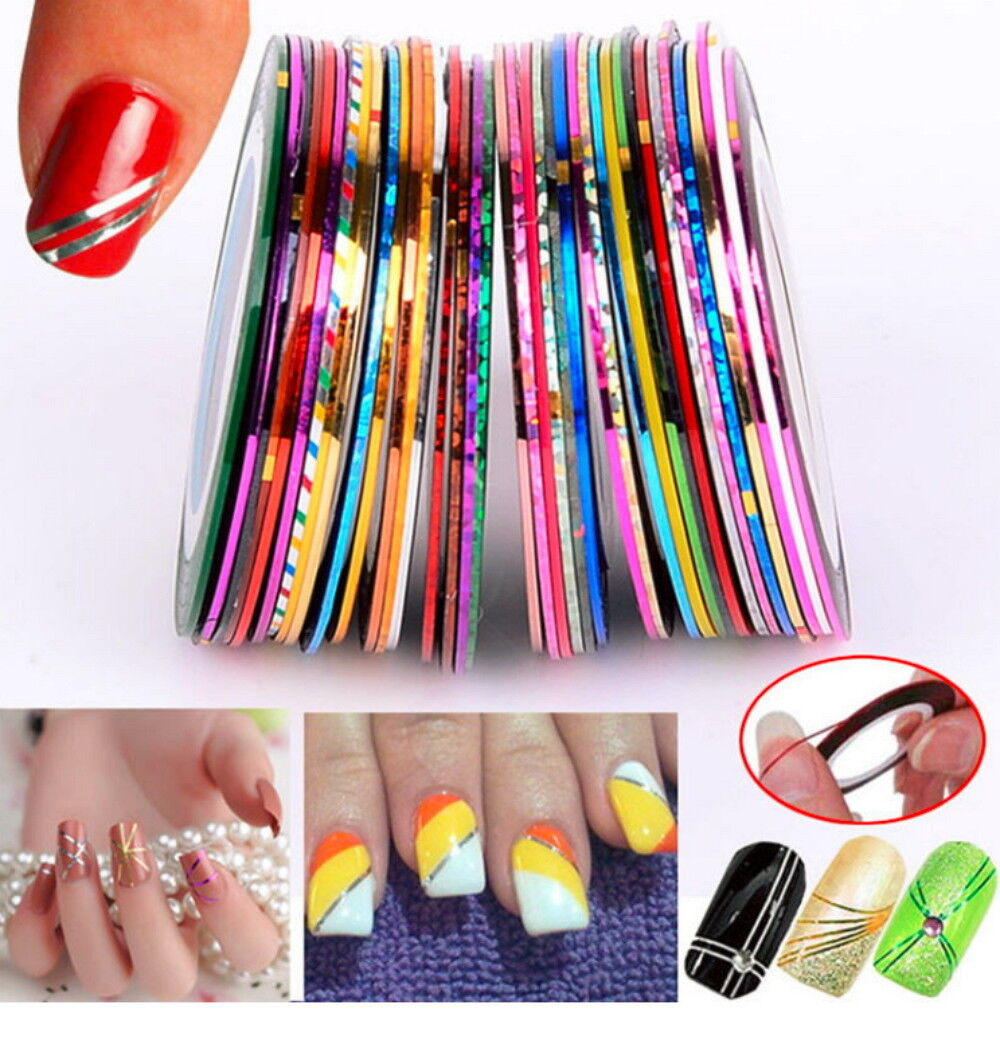 15Pcs Mixed Colors Rolls Striping Tape Line DIY Nail Art Tips Decoration Sticker Health & Beauty