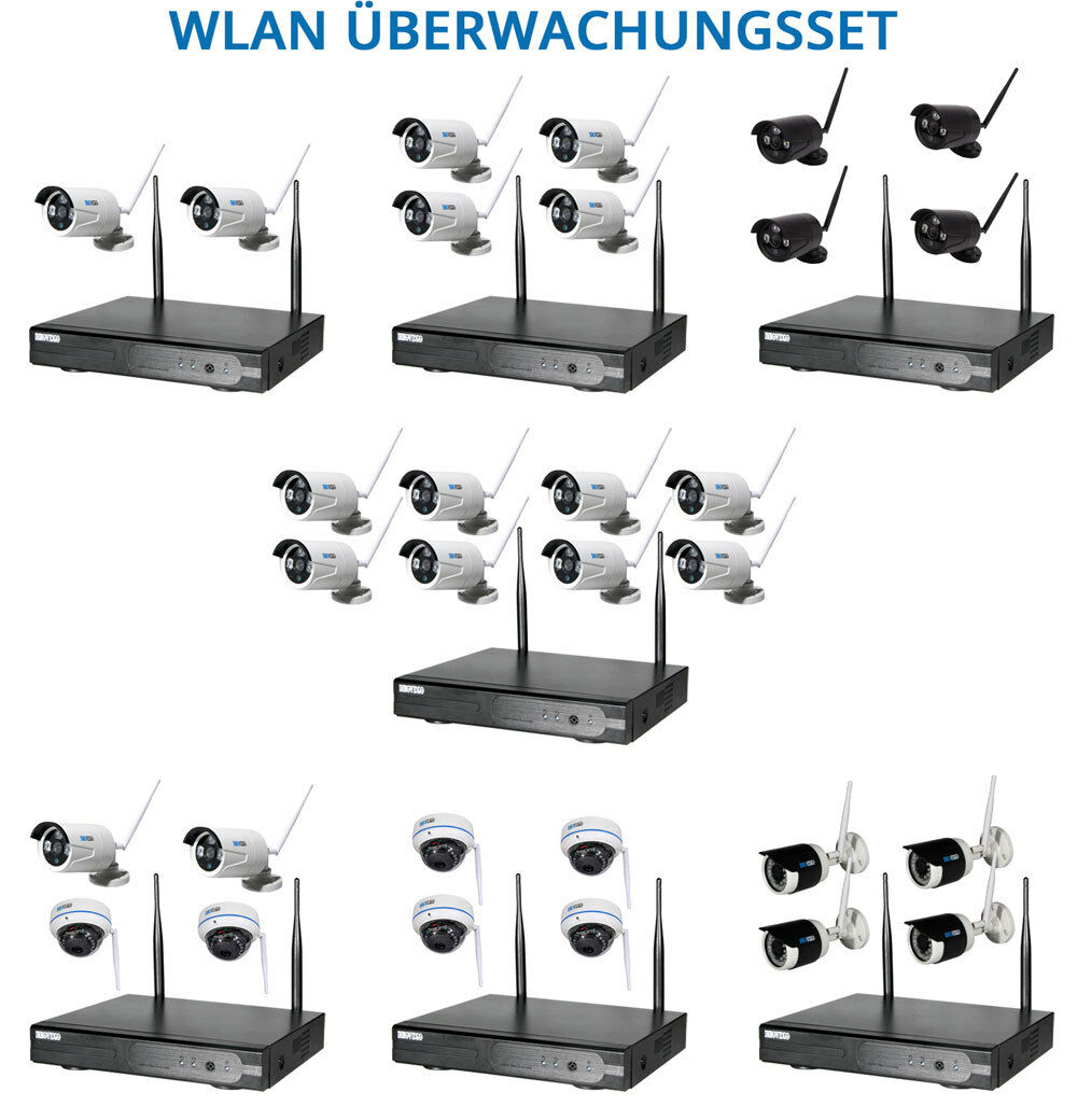 WLAN FUNK HD Komplettset Videoüberwachung Überwachungskamera kabellos Internet