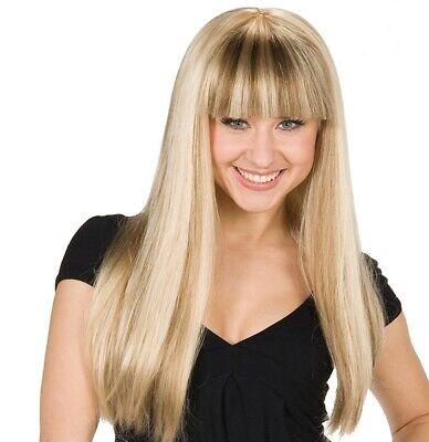 Damen Perücke Mandy blond gesträhnt mit Pony - - Blonde Pony Perücke