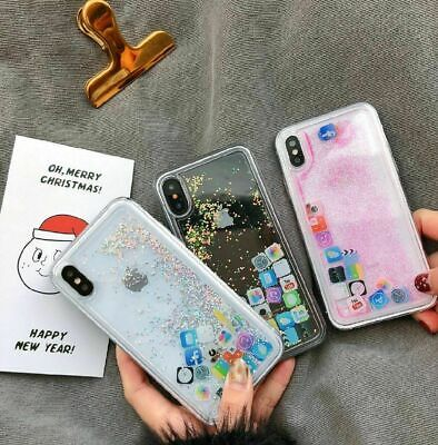Funny Mobile App Icon Pattern Liquid Glitter Phone Case For iPhone 7/8 XS MAX XR