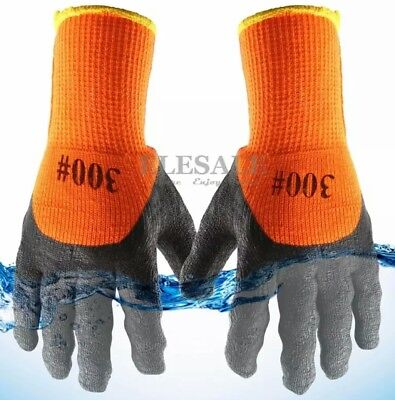 10 Pair Warm Safety Winter Insulated Double Lining Rubber Coated Work Gloves