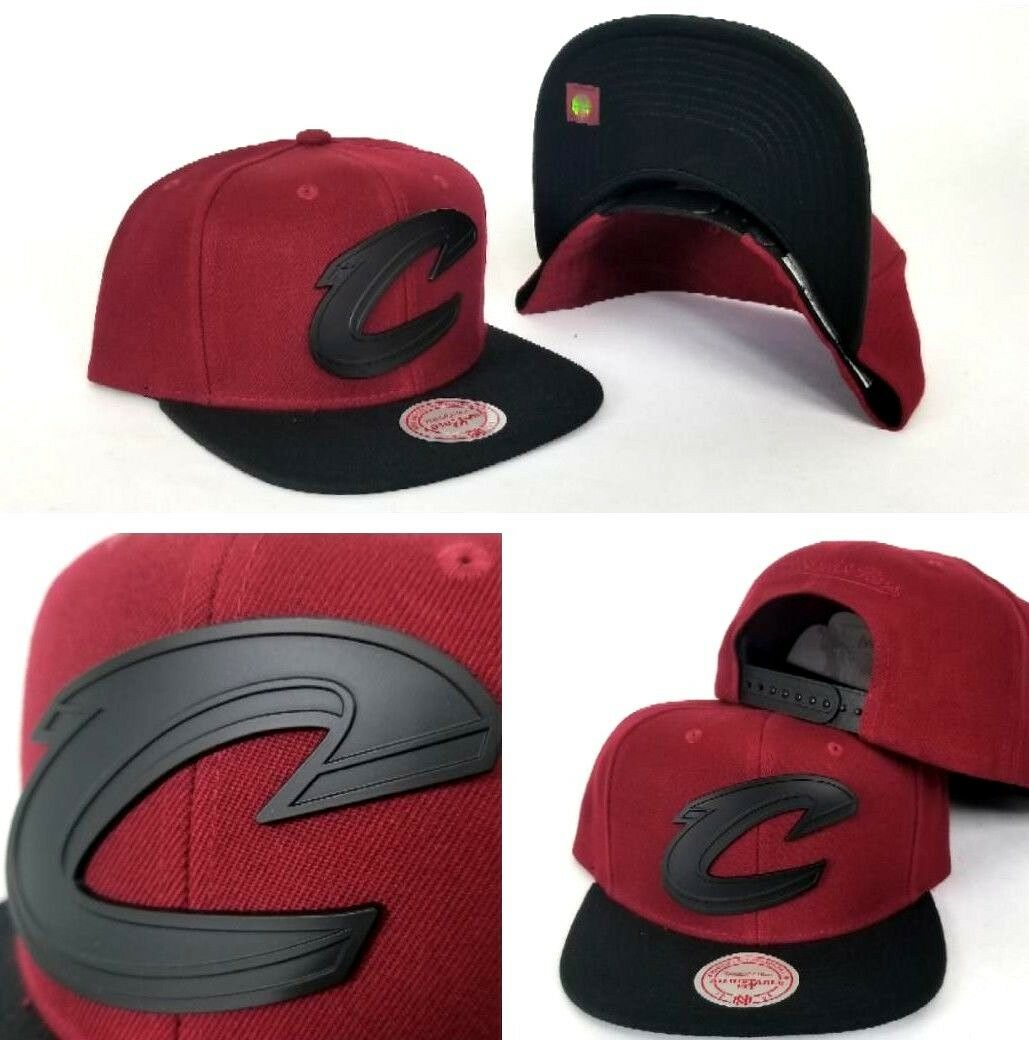 c6683a2bdbb Mitchell   Ness Cleveland Cavaliers Burgundy   Black Metal Logo Snapback Hat  Cap